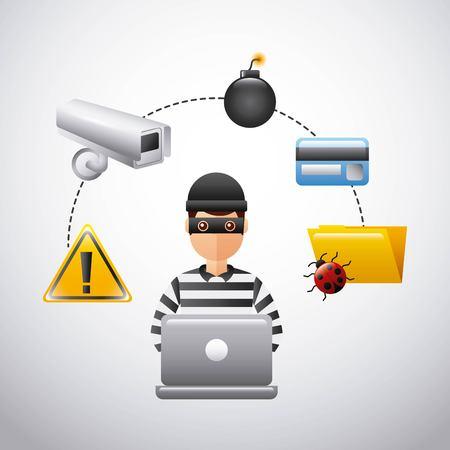 thief hacking data technology fraud vector illustration