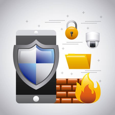 mobile phone protection firewall folder security vector illustration 向量圖像