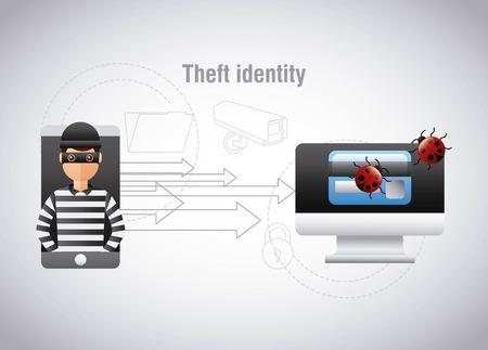 theft identity hacker mobile computer virus vector illustration