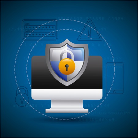 monitor technology shield protection padlock secure vector illustration Illustration