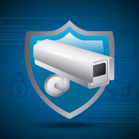 shield protection surveillance camera privecy secret vector illustration