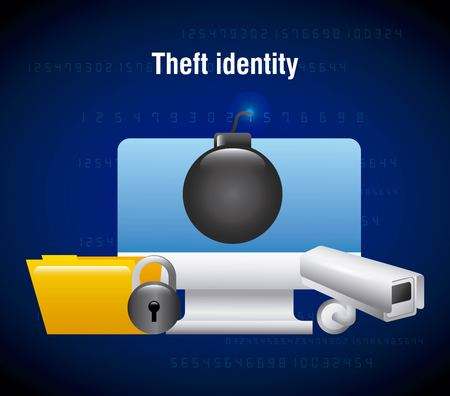 theft identity computer technology folder camera security vector illustration Reklamní fotografie - 95909325