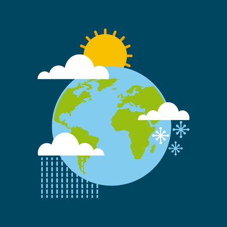 world globe climate winter summer rain season vector illustration
