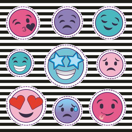cute set of smile emoticons stickers with striped background vector illustration