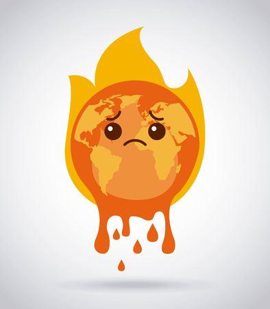 melting cartoon planet earth burning fire sad vector illustration