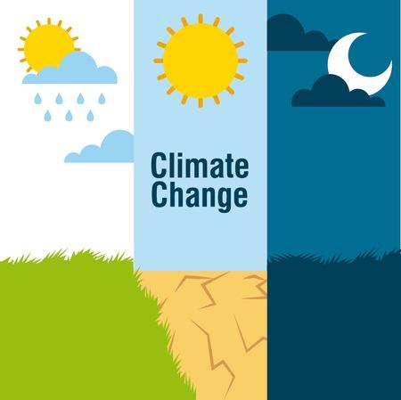 気候変動バナー風景雨砂漠と夜景ベクトルイラスト  イラスト・ベクター素材