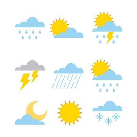 zestaw zmian klimatycznych chmury słońce deszcz niebo ilustracji wektorowych Ilustracje wektorowe
