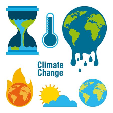 climate change temperature planet world fire melted time vector illustration