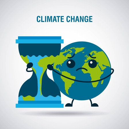 climate change cartoon sad planet earth hourglass time vector illustration