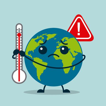 earth planet sad with thermometer warning vector illustration Çizim