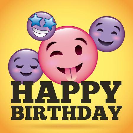 happy birthday smile emoji happy tongue out vector illustration Illustration
