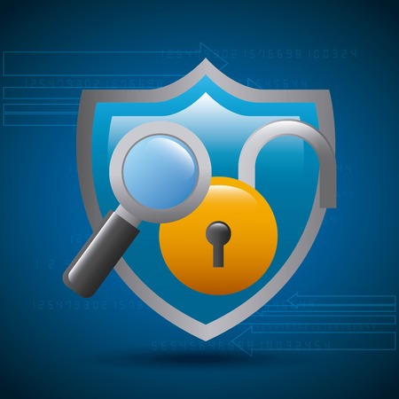 shield protection padlock magnifier technology cyber vector illustration