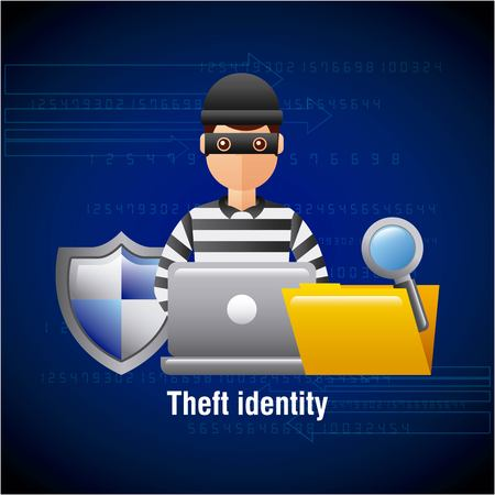 theft identity hacker laptop folder search protection vector illustration Illustration