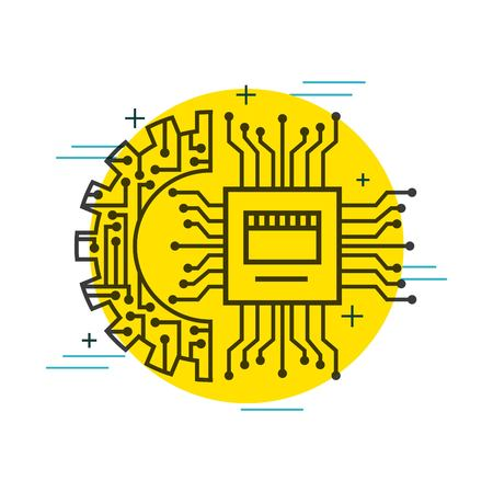 circuit board gear setting connection technology vector illustration thin line image