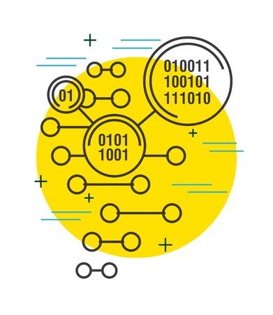 binary code digital technology background vector illustration thin line image 일러스트