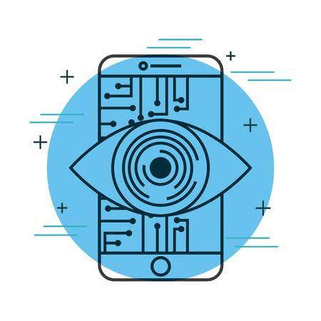 smartphone eye intelligence technology digital vector illustration thin line image