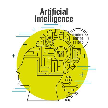 artificial intelligence head profile with gear brain binary vector illustration thin line image Иллюстрация