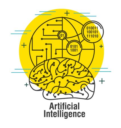 artificial intelligence brain world code binary thin line vector illustration
