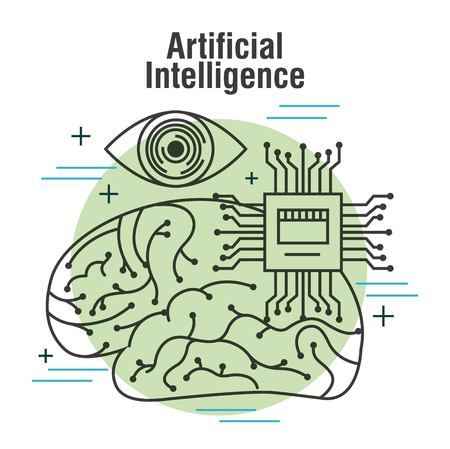 artificial intelligence human brain vision and motherboard vector illustration