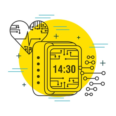 heartbeat digital clock healthcare technology vector illustration thin line image