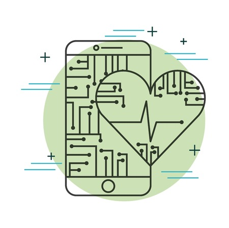 smartphone heartbeat health care app technology vector illustration thin line image Banque d'images - 95908135