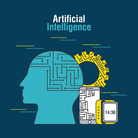 artificial intelligence human profile mobile gear vector illustration thin line image Illustration