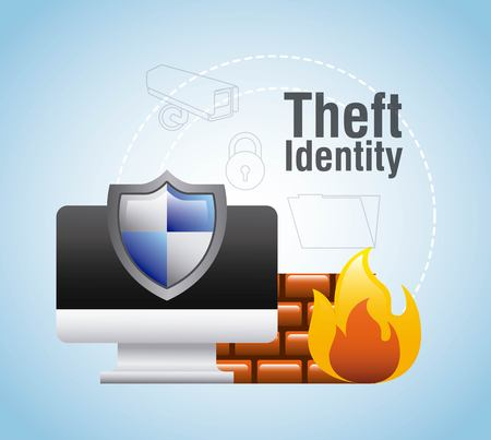 theft identity computer protection firewall safety vector illustration