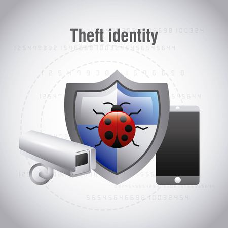 theft identity protection bug virus mobile camera surveillance vector illustration