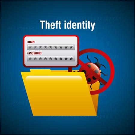 theft identity folder file document access virus vector illustration