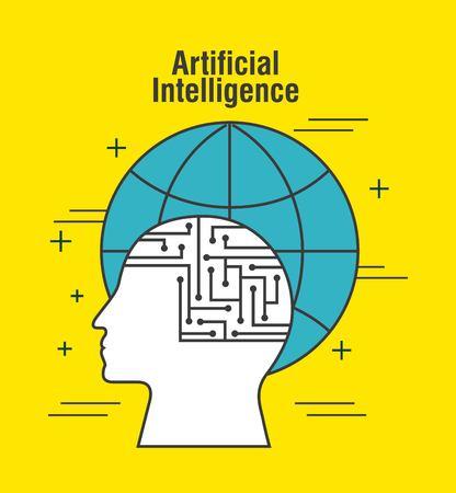 artificial intelligence human head profile global world vector illustration thin line image