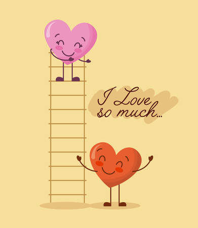 cartoon two hearts adorable i love so much vector illustration