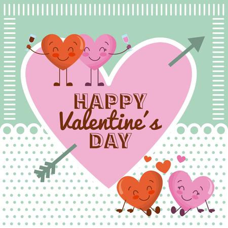 幸せなバレンタインデーピンクの心と漫画のカップルの心のベクターイラスト  イラスト・ベクター素材