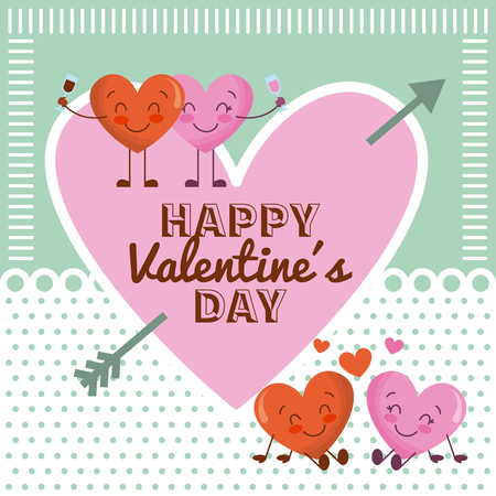 happy valentines day pink heart and cartoon couple hearts vector illustration