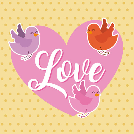 love pink heart and birds flying card vector illustration