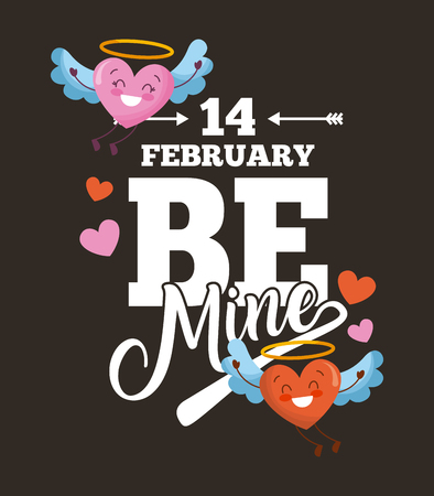 14 february be mine card love hearts with wings cartoon dark background vector illustration Banco de Imagens - 95911488