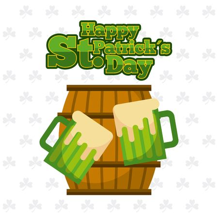 happy st patricks day wooden barrel and green beers vector illustration