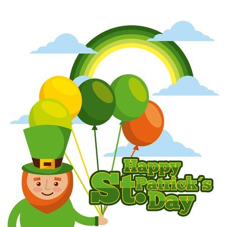 happy st patricks day card leprechaun with balloons rainbow celebration vector illustration Ilustração