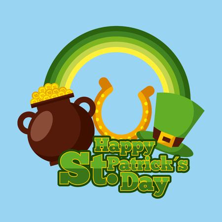happy st patricks day cauldron gold coins horseshoe and hat vector illustration