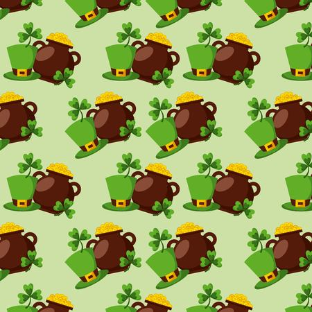 cauldron coins clover and hat st patricks day pattern vector illustration