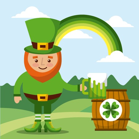 leprechaun holding green beer and barrel rainbow landscape vector illustration