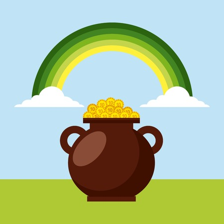 cauldron with golden coins green rainbow clouds vector illustration