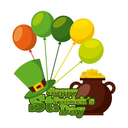 happy st patricks day pot gold coins hat balloons celebration vector illustration