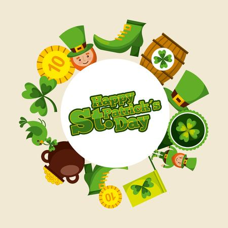 happy st patricks day round badge leprechaun hat shoe coin barrel clover vector illustration