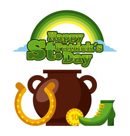 happy st patricks day cauldron horseshoe coin and green shoe vector illustration