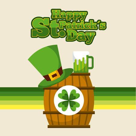 happy st patricks day barrel sticker clover hat and green beer vector illustration Illustration