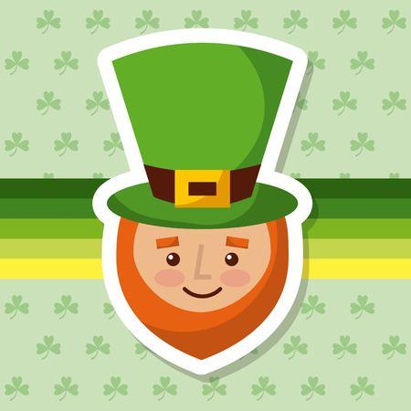 cartoon leprechaun with hat and beard clover background vector illustration