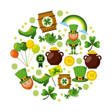 st patricks day set of icons celebration symbol vector illustration Illustration