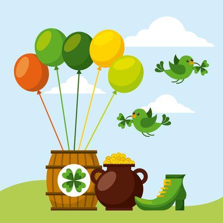 cauldron coins barrel shoe birds flying with clover beak vector illustration Illustration