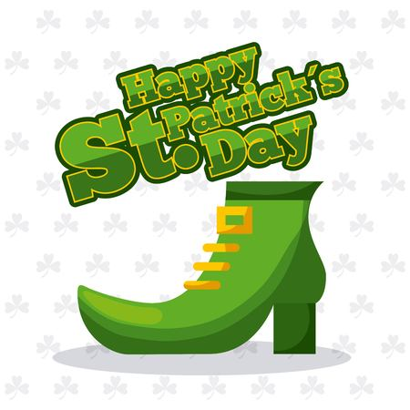 st patricks day green shoe and clover background vector illustration