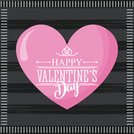 happy valentines day card pink cute heart and dark background vector illustration
